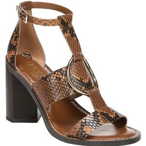 New Franco Sarto Dandelion Snake Heeled Sandals